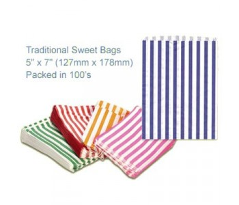 Blue Candy Striped Sweet Bags 5 x 7 - 100 Pack
