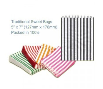 Black Candy Striped Sweet Bags 5 x 7 - 100 Pack