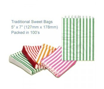 Green Candy Striped Sweet Bags 5 x 7 - 100 Pack