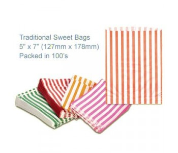 Orange Candy Striped Sweet Bags 5 x 7 - 100 Pack