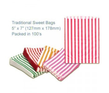Red Candy Striped Sweet Bags 5 x 7 - 100 Pack