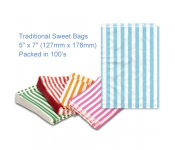 Light Blue Candy Striped Sweet Bags 5 x 7 - 100 Pack