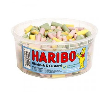 Haribo Rhubarb and Custard Pieces - 1.5Ltr Tub - 750g
