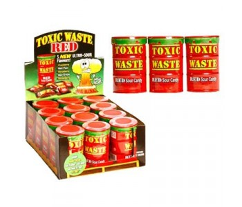 Toxic Waste Red - Ultra Sour Candy - 12 Pack